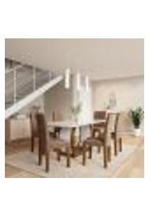 Conjunto De Mesa De Jantar Com 6 Cadeiras Estofadas Eva Animalle Off White E Chocolate