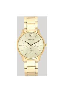 Relógio Analógico Lince Feminino - Lmgj087L C2Kx Dourado