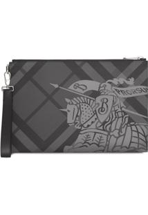 Burberry Equestrian Knight Logo Clutch Bag - Cinza