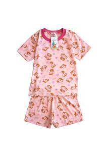Pijama Manga Curta Raposinha Babié Feminino Rosa