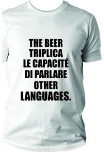 Camiseta Criativa Urbana Cerveja Beer Idiomas Branca