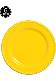 Conjunto 6 Pratos Rasos Bolinha Amarelo Real Scalla