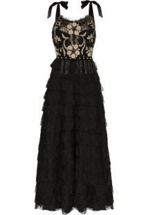 One Vintage Vestido De Renda Com Bordado Floral - Preto