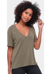 T-Shirt Mob Malha Básica Feminina - Feminino-Verde