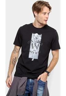 Camiseta Cavalera Estampa Monroe Tattoo Masculina - Masculino-Preto
