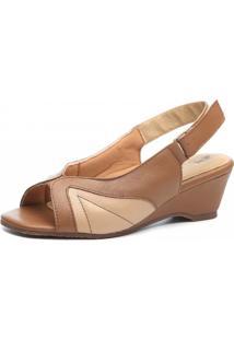 Sandália Anabela Doctor Shoes 622 Bege