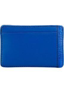 Carteira Couro Calvin Klein Porta Cartão Básica Masculina - Masculino-Azul