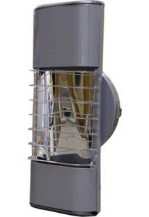 Luminária Mini Elite 27Cm Com Aletas E-27 1 Lâmpada Eletrônica Titânio