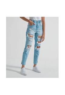 Calça Mom Jeans Lisa Com Rasgos | Blue Steel | Azul | 38