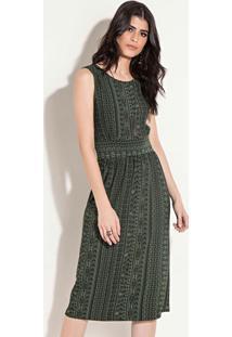 Vestido Quintess Midi Étnico Verde