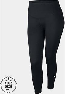 Calça Nike One Tight Plus Size Feminina - Feminino-Preto+Branco