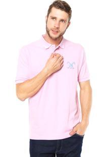 Camisa Polo Polo Play Reta Logo Rosa