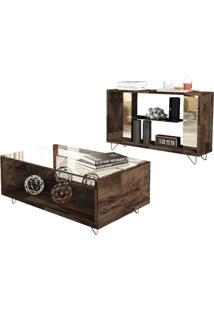 Mesa De Centro Hb Móveis Charmy Com Aparador Duo Deck