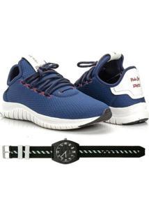 Kit Tênis Têxtil Mesh Elástic + Relógio Urban Style Feminino - Feminino-Azul Escuro