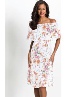 Vestido Midi Ombro A Ombro Floral Branco