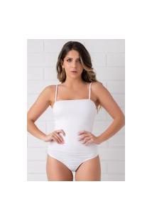Body Decote Reto Em Malha Laise Pkd Branco