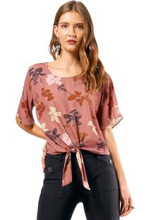 Blusa Mx Fashion Estampada Anaflor Marrom