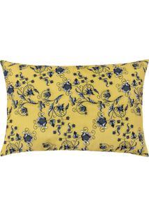 Capa De Almofada Colorida Estampada Amarelo Floral 55 X 35