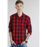 Camisa Masculina Xadrez Com Bolso Manga Longa Vermelha 771c74cfd575c