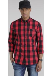 Camisa Masculina Xadrez Manga Longa Vermelha