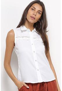 Regata Camisa Heli Guipir Feminina - Feminino-Branco