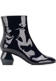 Emporio Armani Ankle Boot De Couro Com Salto Geométrico - Azul
