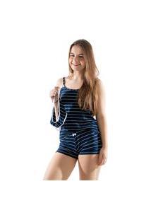 Pijama Baby Doll Listrado Com Calcinha Feminino Rlc Modas Azul Marinho