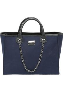 Bolsa Com Correntes- Azul Marinho & Preta- 28X37X15Cmr. Cat