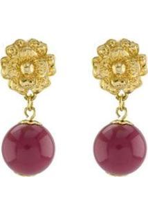 Brinco Barbara Strauss Evosmos Em Resina Lalique Revestido Em Ouro 18K - Feminino-Vermelho Escuro