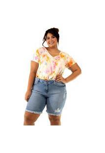 Bermuda Camellia Plus Size Blubetty Básica Jeans