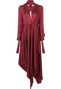 Off-White Vestido Assimétrico Com Decote - Vermelho