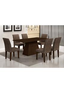 Conjunto De Mesa De Jantar Luna Com 6 Cadeiras Grécia Suede Amassado Castor E Chocolate 180 Cm