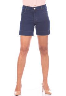 Bermuda Sisal Jeans Meia Coxa Blue Jeans