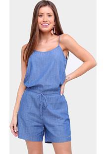 Macaquinho Jeans Influencer Alcinha Amarração Feminino - Feminino