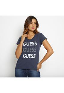 Blusa Com Inscriã§Ãµes- Azul Marinho & Branca- Guessguess