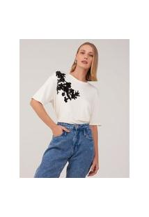 Amaro Feminino T-Shirt Viscolycra Silk Flocado, Off-White