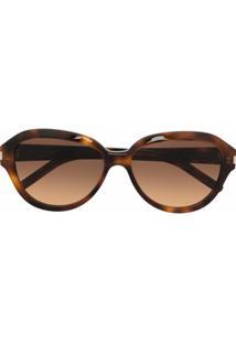 Saint Laurent Eyewear Óculos De Sol Redondo Sl400 - Marrom