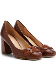 Scarpin Couro Shoestock Salto Médio Elos - Feminino-Caramelo