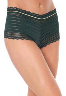 Calcinha Liz Easywear Caleçon Renda Verde - Kanui