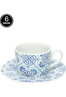 Conjunto 6 Xícaras Lisboa Para Chá Porcelana 200Ml Bon Gourmet