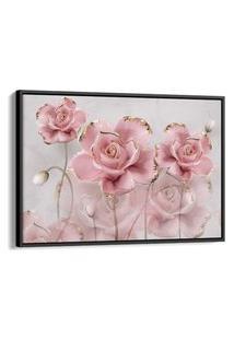 Quadro 60X90Cm Rosas Grandes Banhadas A Ouro Fundo De Mármore Canvas Moldura Flutuante Preta