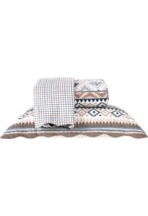 Kit Cobre Leito Casal Dupla Face Com Porta Travesseiro - Dakota
