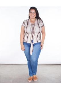 Blusa Listrada Feminina Plus Size Botões - Feminino