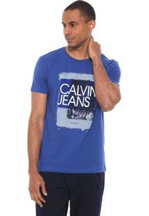 Camiseta Calvin Klein Jeans Estampada Azul