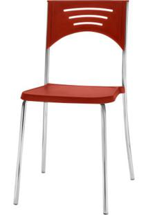 Cadeira Bliss Assento Vermelho Base Cromada - 53718 - Sun House