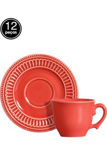 Conjunto 6 Xícaras De Chá Poppy Coral Scalla
