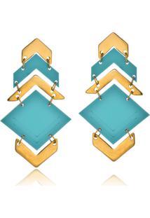 Brinco Le Diamond Triã¢Ngulos Turquesa - Dourado/Verde - Feminino - Dafiti