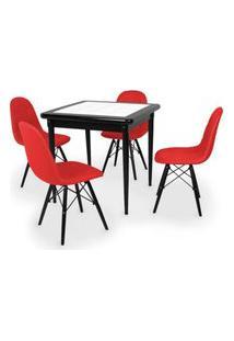 Conjunto Mesa De Jantar Em Madeira Preto Prime Com Azulejo + 4 Cadeiras Botonê - Vermelho