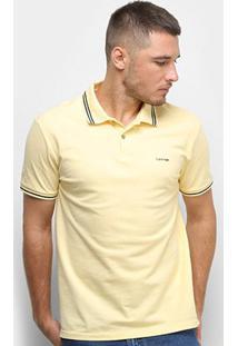 Camisa Polo Calvin Klein Frisos Masculina - Masculino-Amarelo