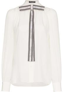 Dolce & Gabbana Blusa De Seda Com Laço - Branco